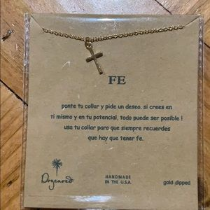 FE cross gold necklace